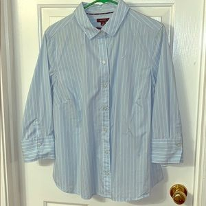 3/4 length blue & white striped button down
